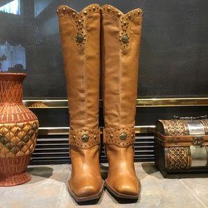 Antonio Melani Leather Buffalo Western Knee Boots